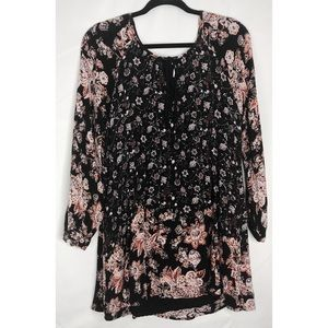 Free people black small floral tunic blouse dress